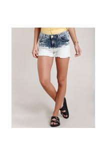 Short Jeans Feminino Reto Cintura Média Destroyed Azul Escuro