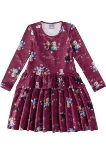 Vestido Evasê Frozen Ii® Malwee Kids Vinho - 2
