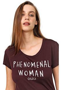 Camiseta Colcci Lettering Marrom