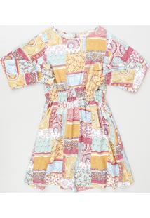 Vestido Infantil Patchwork Manga Longa Multicor