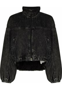 Alexander Wang Padded Denim-Look Bomber Jacket - Preto