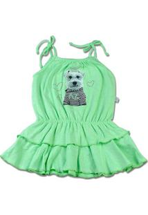 Vestido Infantil Malha Botonê Rustic Fresh Neon Cachorrinho - Verde 1