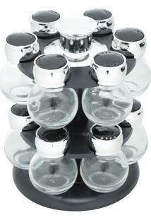 Porta Tempero Giratório De Plástico Com 12 Potes De Vidro Poli - Bon Gourmet - Preto