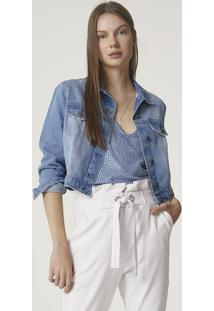 Jaqueta Jeans Feminina Cropped