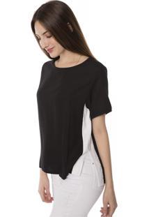 Camiseta T-Shirt Viscose Faixa E Fenda Lateral Pop Me Preto
