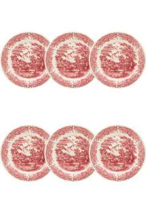 Conjunto 6 Pratos Sobremesa Biona Vilarejo 19Cm Cerâmica Vermelho