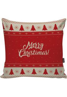 """Capa Para Almofada Em Microfibra """"Merry Christmas""""- Vermstm Home"""