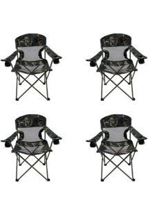 Kit 4 Cadeiras Nautika Dobráveis Com 2 Porta Copos Fresno - Unissex