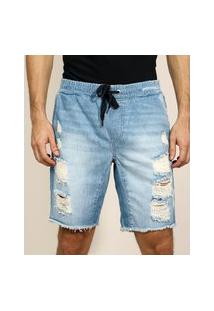 Bermuda Jeans Masculina Slim Com Cordão Azul Claro