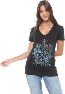 Camiseta Hurley V Dagger Rose Preta