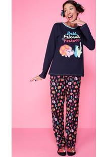 Pijama Meia Malha Cactos