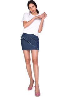 Minissaia Jeans Com Babados