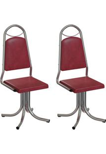 Conjunto Com 2 Cadeiras Sydney Vinho E Cromado