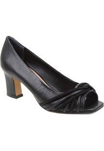 Peep Toe Couro Shoestock Tiras Rolete Salto Médio - Feminino-Preto