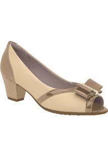 Peep Toe Com Laço- Bege Claro & Bronze- Salto: 5Cmpiccadilly
