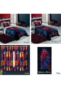 b7cfda2c5b Kit 4 Peã§As Lepper Spider Man Jogo De Cama + Edredom + Cortina +