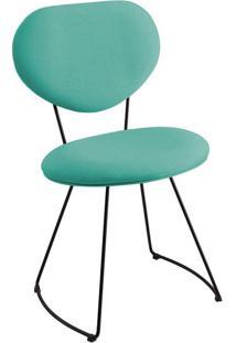 Cadeira Milão Meia Lua Linho Azul Turquesa
