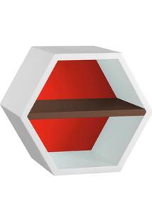 Nicho Hexagonal Favo Ii Com Prateleira Branco Com Vermelho E Marrom Escuro