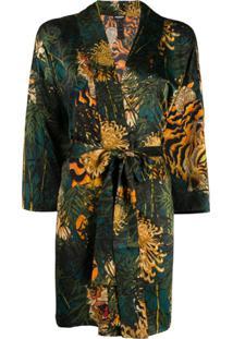 Dsquared2 Kimono Com Estampa De Tigre - Verde
