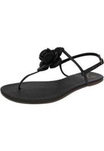 Rasteirinha Dali Shoes T-Strap Com Flor Feminina - Feminino-Preto