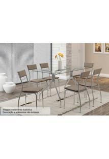 Sala De Jantar Carraro Mesa 387 1+6 Cadeiras Cro/Conhaque