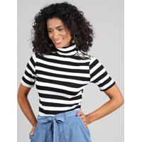 992334e4e8 CEA. Blusa Feminina Listrada Com Botões Manga Curta Gola Alta Branca
