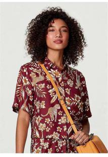 Camisa Feminina Estampada Com Modelagem Box Vermel