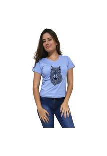 Camiseta Feminina Gola V Cellos Abstract Wolf Premium Azul Claro