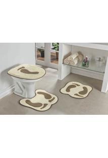 Jogo De Banheiro Guga Tapetes Formato Pegada 03 Peças Palha