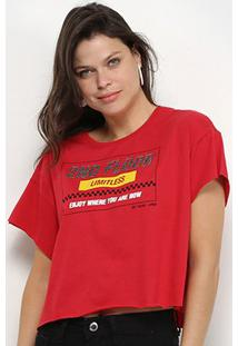 Camiseta Ellus 2Nd Floor Race Cropped Feminina - Feminino-Vermelho