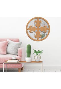 Escultura De Parede Wevans Mandala Emblem, Madeira + Espelho Decorativo