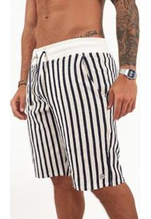 Bermuda Off Stripes Melty Masculina - Masculino-Marinho+Off White