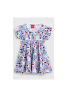Vestido Tricae Infantil Lhama Roxo