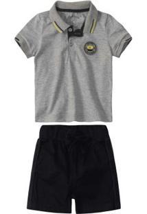 Conjunto Cinza Camisa Polo Menino