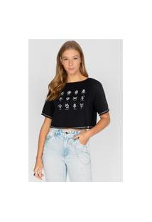 T-Shirt Boxy Dupla Face Preto Preto