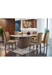 Conjunto De Mesa De Jantar Luna Café E Off White Com 6 Cadeiras Grécia Veludo Chocolate