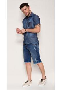 Bermuda Jeans Zait Fred Masculina - Masculino-Azul