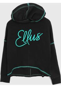 Blusa De Moletom Ellus Kids Infantil Logo Preto/Verde