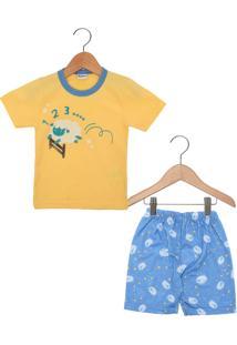Pijama Kiko Curto Menino Amarelo