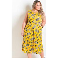 e67c6f075 Macacão Pantacourt Plus Size Floral Amarelo