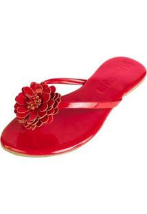 Rasteirinha Mercedita Shoes Conforto Flor Feminina - Feminino-Vermelho