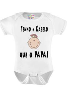 Body Personalizado Bebê Menina Mais Cabelo Que Papai