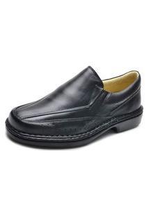 Sapato Social Conforto Fepo Store Couro Calce Facil Macio Preto