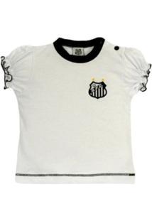 Baby Look Reve D'Or Sport Cores Clube Santos Branca E Preta