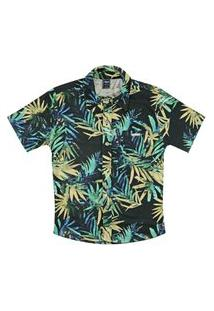 Camisa Look Jeans Folhagem Preto