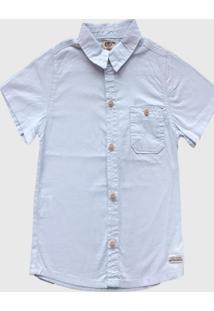 Camisa Sarja Manga Curta Mabu Denim Cor Azul