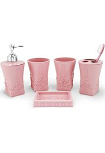 Kit Banheiro Com 5 Peças Jacki Design - Feminino-Rosa
