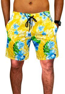 Bermuda Praia Ks Tactel Estampado Floral C/ Bolsos Laterais Ref.0394.9 Amarelo