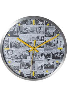 Relógio De Parede Metal - Dc Comics - Preto E Branco - 30,5X3,8Cm - Metrópole