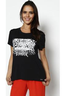 """Camiseta """"Paris""""- Preta & Branca- Ênfase Plusênfase Plus"""
